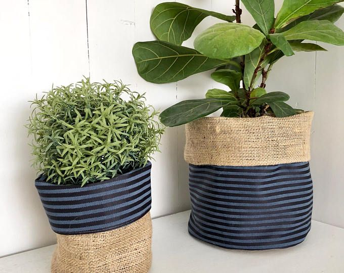 Navy Blue Horizontal Stripe Reversible Hessian Planter Bag