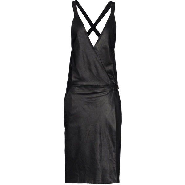 PROENZA SCHOULER 3/4 length dress (9 760 SEK) ❤ liked on Polyvore featuring dresses, proenza schouler, black, black dress, no sleeve dress, snap dress, sleeveless dress and black strappy dress