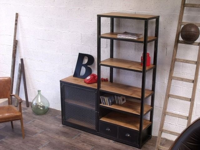 biblioth que tag res bois et m tal esprit loft sur mesure. Black Bedroom Furniture Sets. Home Design Ideas