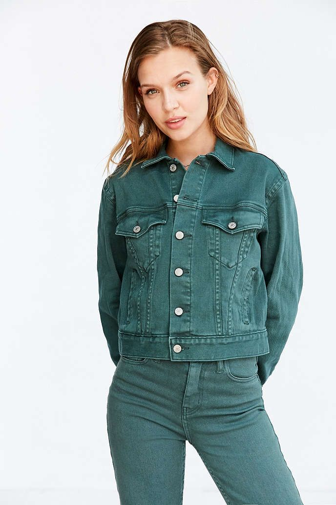Dark Green Denim Jacket Clothes Jackets How To Wear Clothes