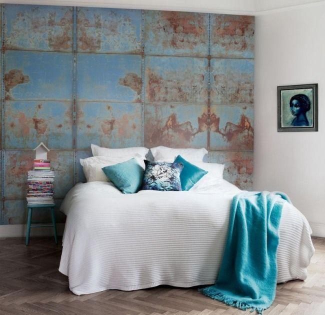 Metall Platte verrostet-Effekt Tapeten-für Schlafzimmer