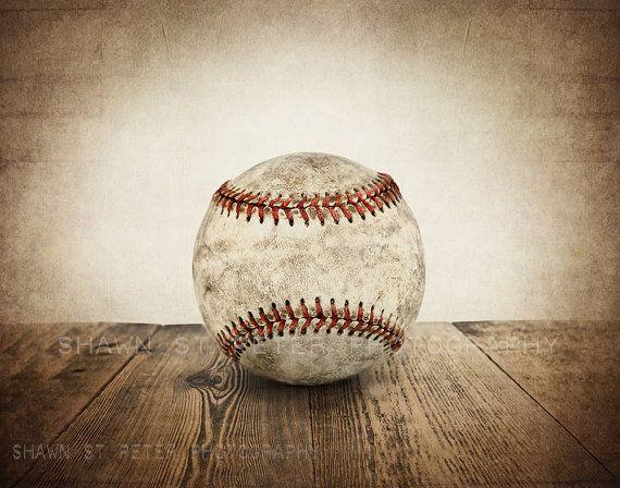Vintage Single Baseball On Wood Photo Print Decorating Ideas Etsy Baseball Room Baseball Bedroom Baseball Nursery