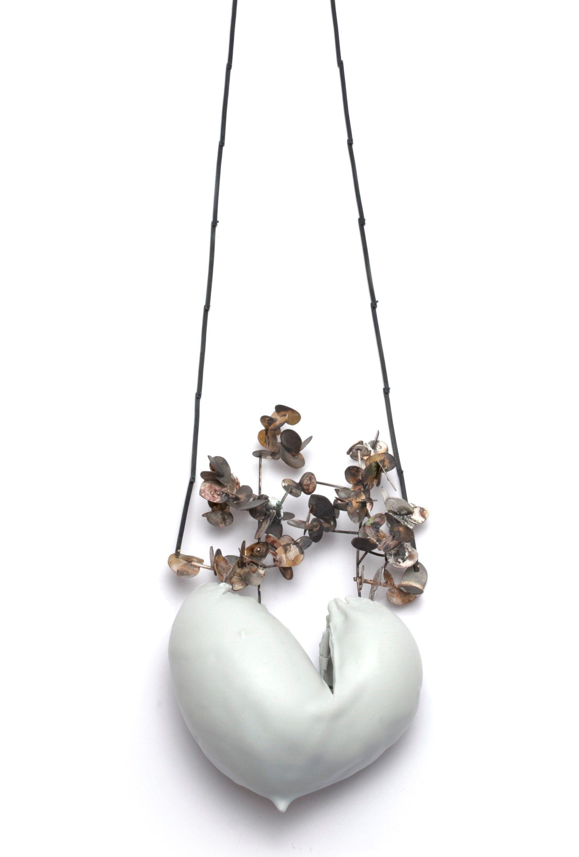 "Astonish - Gabriela Cohn -   ""Heartn"" necklace - Porcelain / Silver / Oxidize Silver / Resine / Marble W 11 x L 18 x H54"