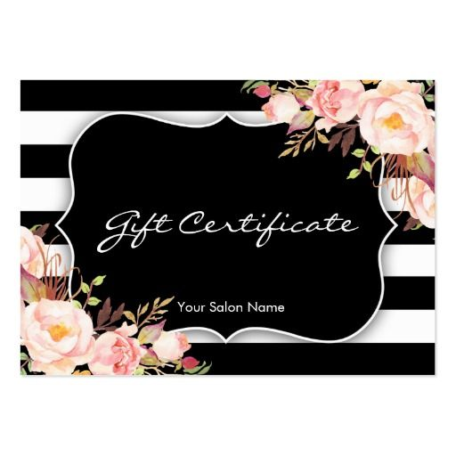 Floral Salon Or Boutique Gift Certificate Template Large Business ...