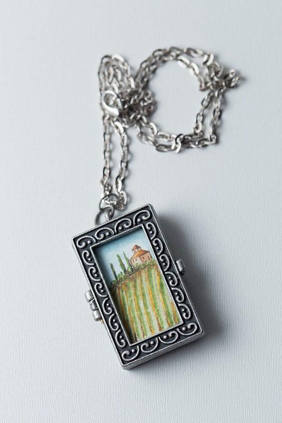 Miniature Painting, Tuscany Watercolor, Watercolor Pendant, Tuscany Painting, Wearable Art, Vineyard Painting, Art Jewelry, Italy…