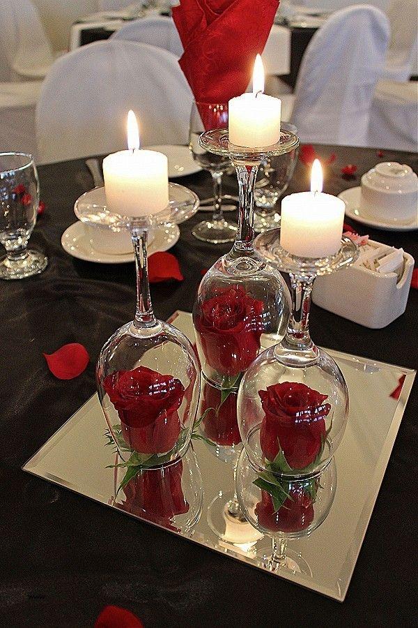 diy ideen mit weingläsern kerzenständer mit roten rosen