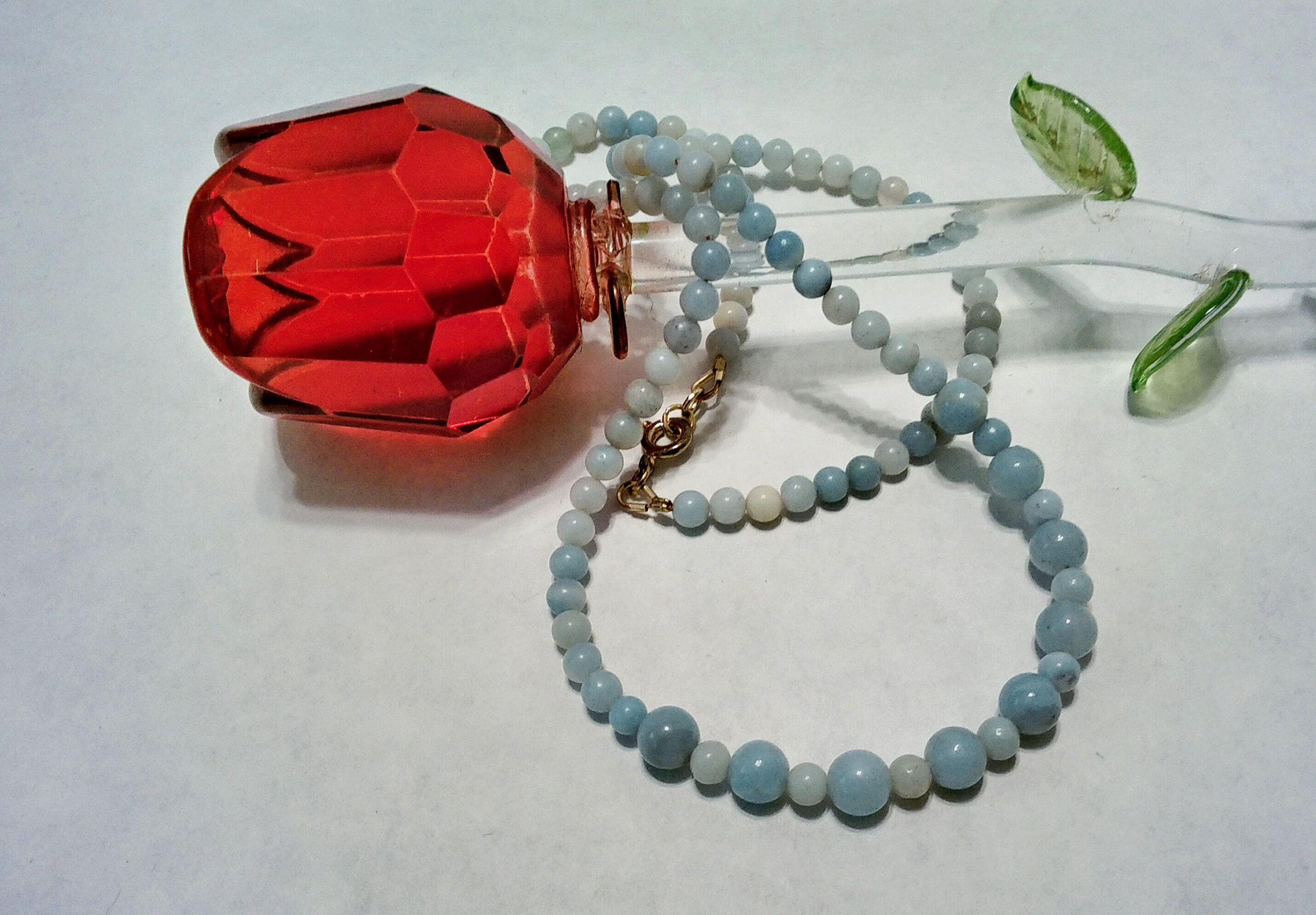 18 Inch Amazonite Necklace Blue Gold Minimalist Gift For Her Birthday Handmade Simple Feminine Wedding Anniversary