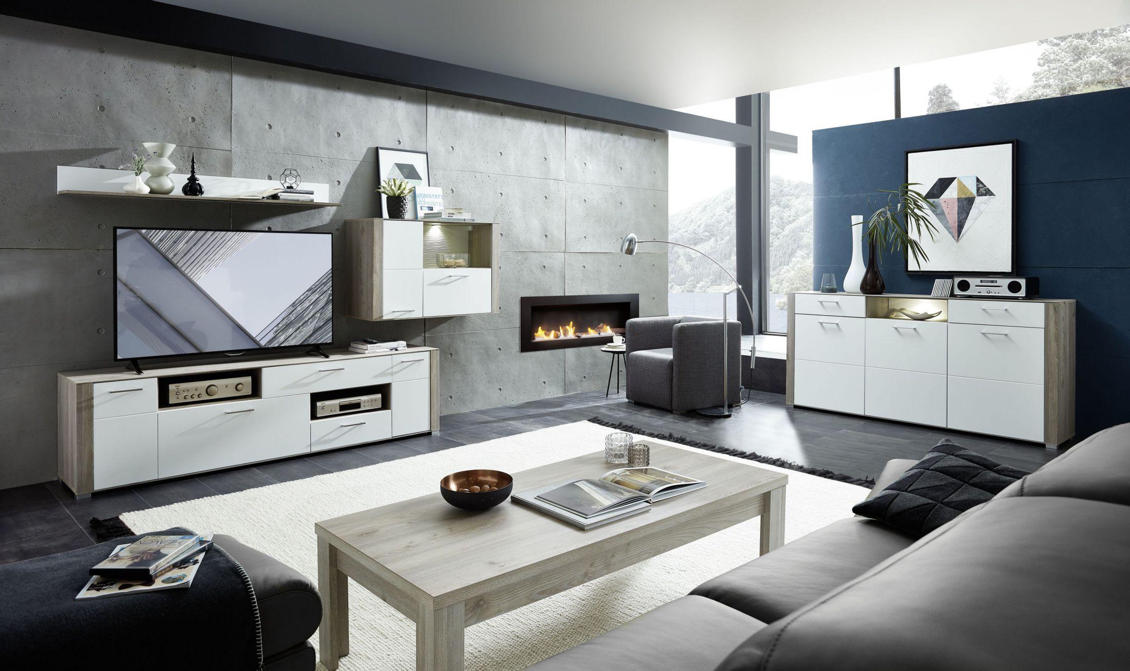 Wandbeleuchtung wohnzimmer ~ Wohnzimmer weiss silbereiche mit sideboard couchtisch und