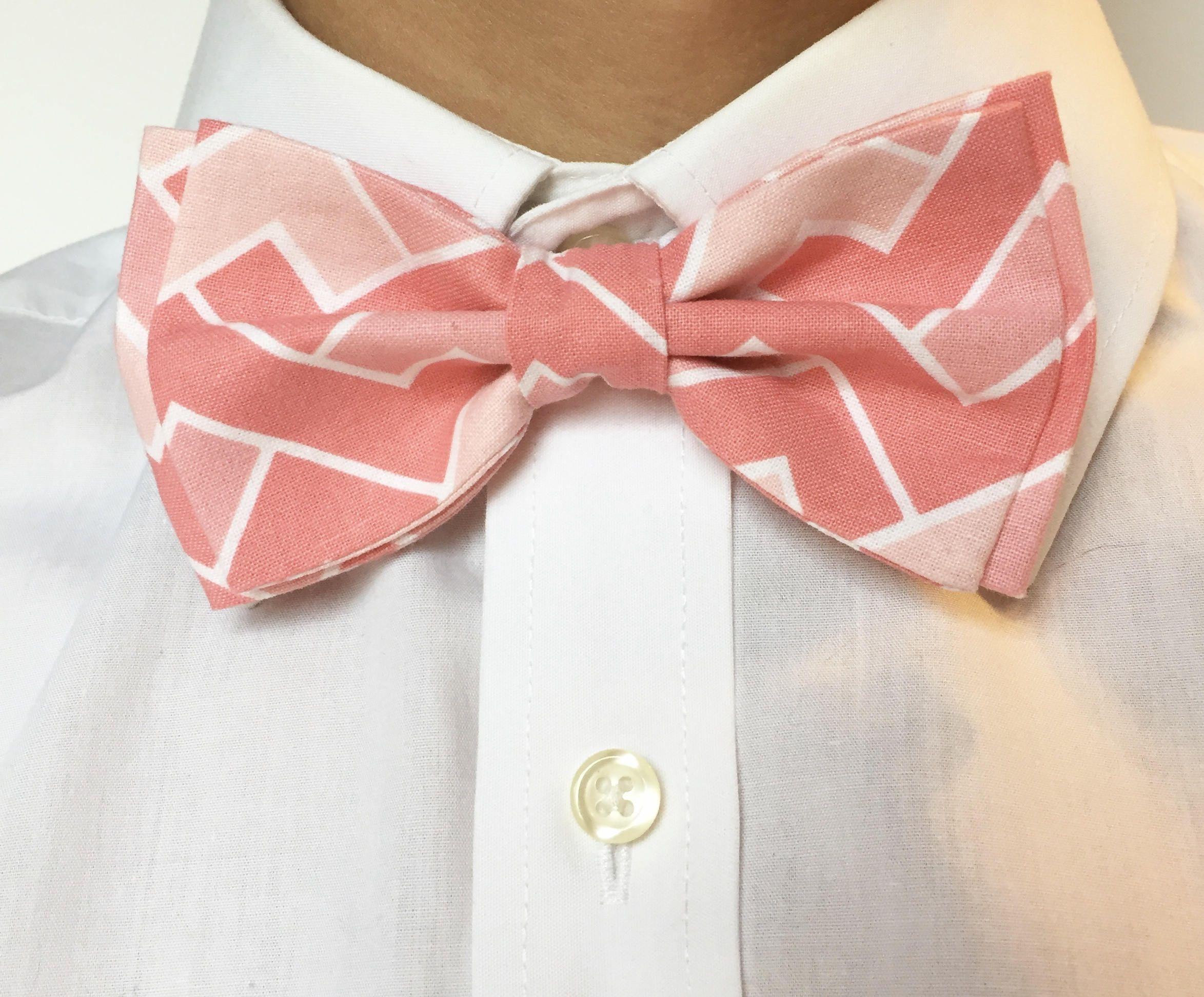 Pink Bow Tie Pink Chevron Bow Tie Pink White Tie Shades Pink Tie ...