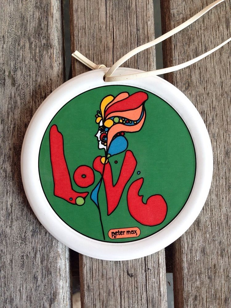 Vintage 1960s PETER MAX 'Love' Psychedelic Ceramic Necklace Pendant Beatles RARE