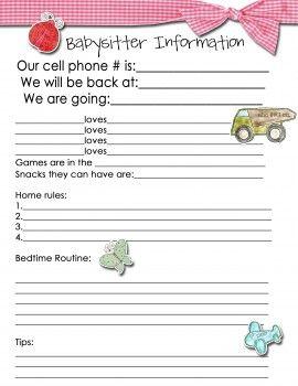 Babysitter Info Sheet | Sofia Ellen Berry | Pinterest | WE FC, The ...