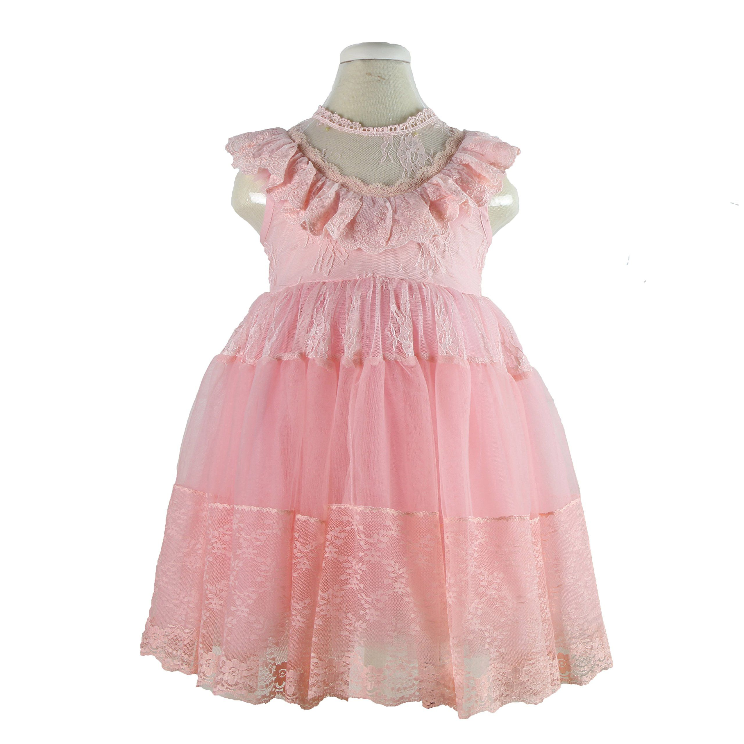 Girls Tutu Lace Dress Pink Ruffles Princess Party Dresses 5t Size 2 3 4 5 7 For1 7 Years Old Baby Girls See Through Nec Lace Pink Dress Lace Dress Dresses [ 2560 x 2560 Pixel ]