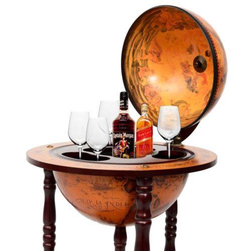 36 034 Wood Globe Wine Bar Stand 16th Century Italian Rack Liquor