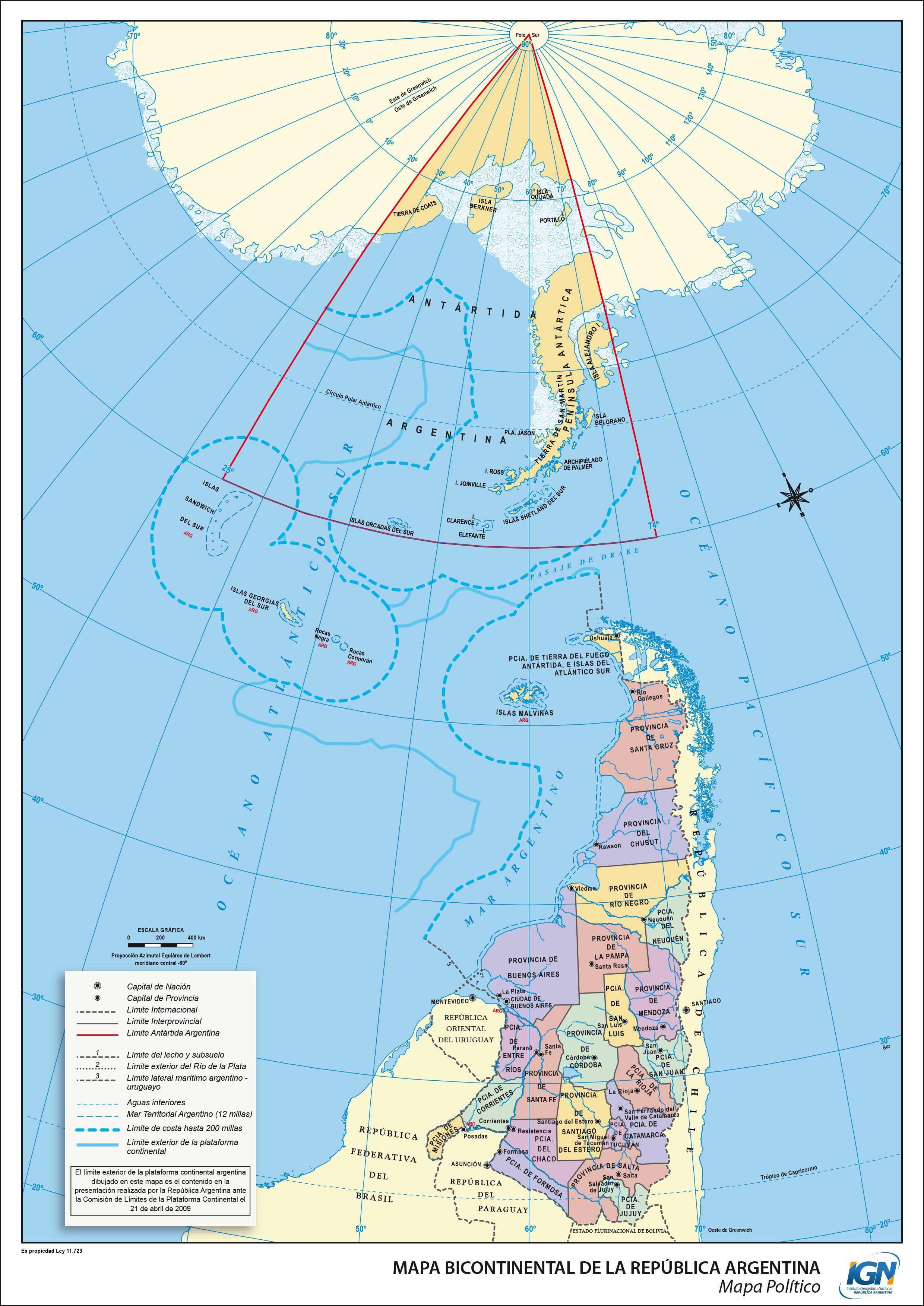 Argentina And AntarcticSouth Atlantic Claims From National - Antarctica political map