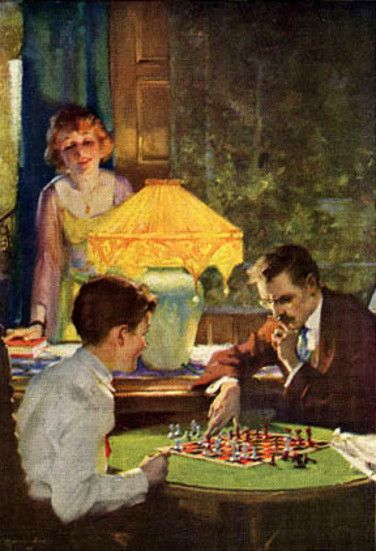 Charles Edward Chamber (American, 1883-1941) - Chess By Lamplight