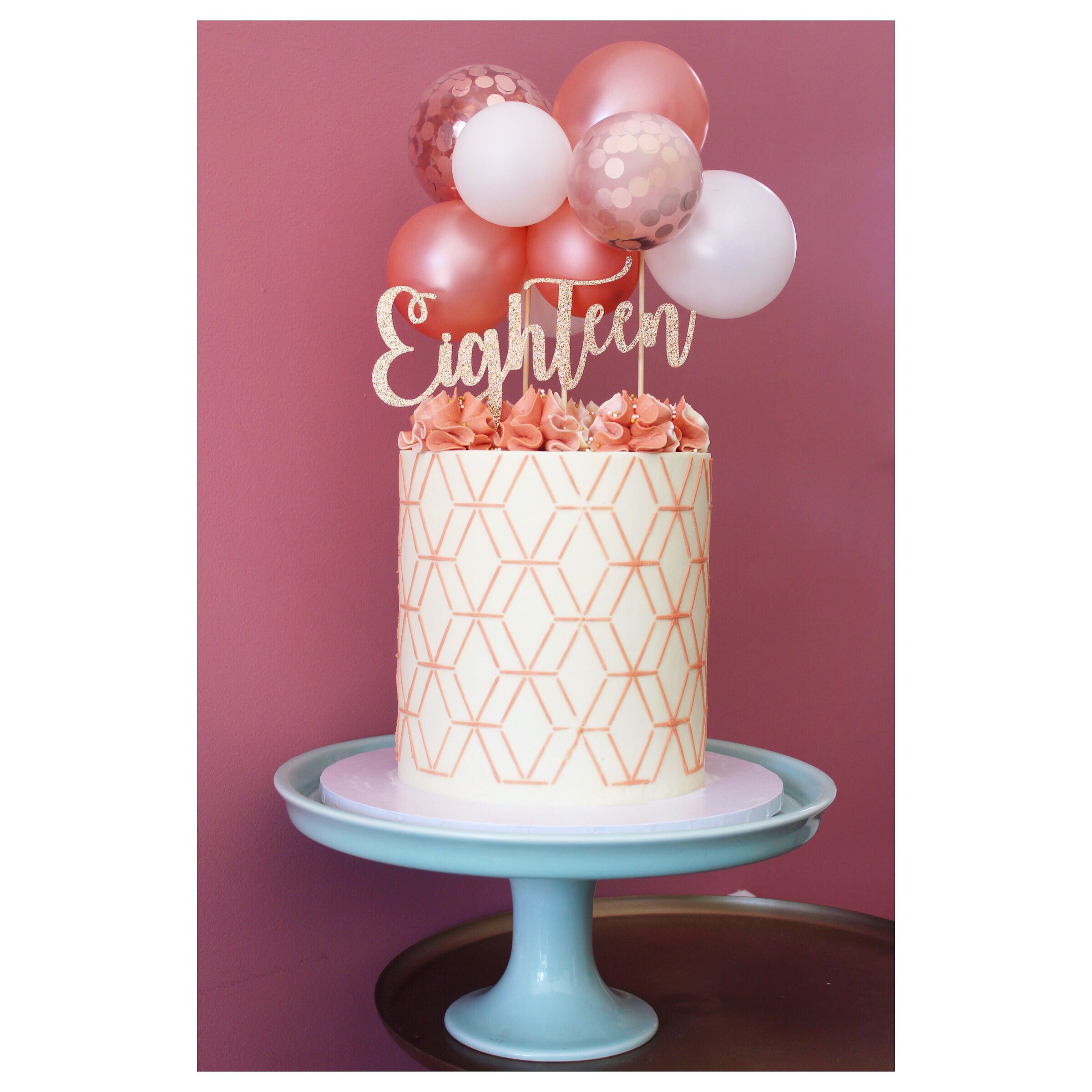 Swell Buttercream Covered Rose Gold 18Th Birthday Cake With Balloon Personalised Birthday Cards Veneteletsinfo