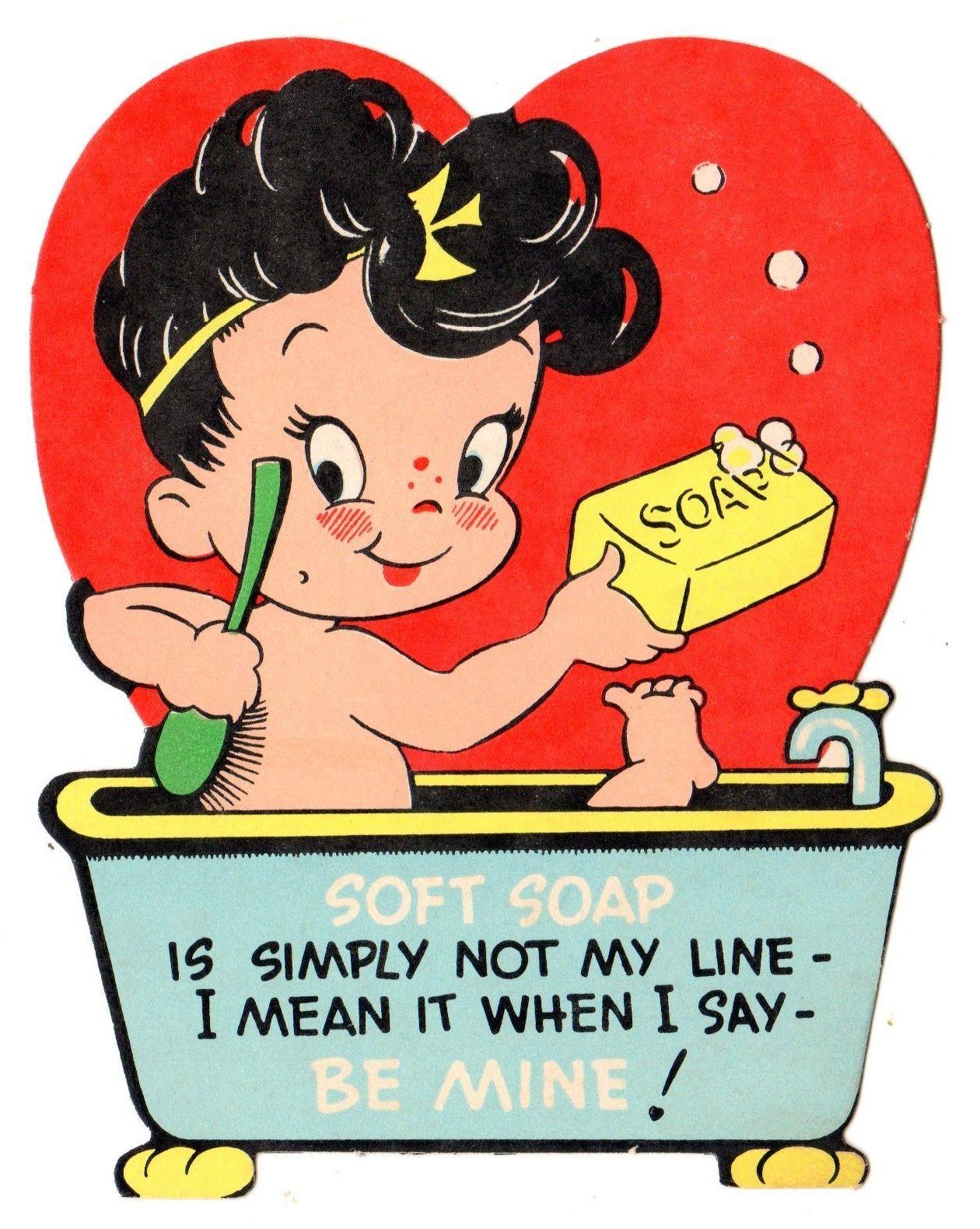 Cute Girl in Bubble Bath Soft Soap Is not My Line Vintage