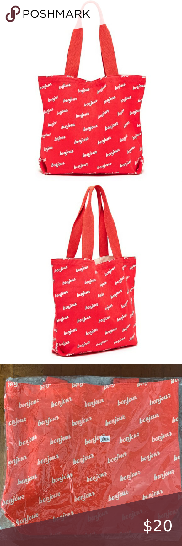 Ban Do Big Canvas Tote Bonjour 19 25 In X 15 In 8 Oz Lightweight Canvas Surface Design By Maddy Nye Gusset Base Folded Corner Canvas Tote Bando Bag Tote