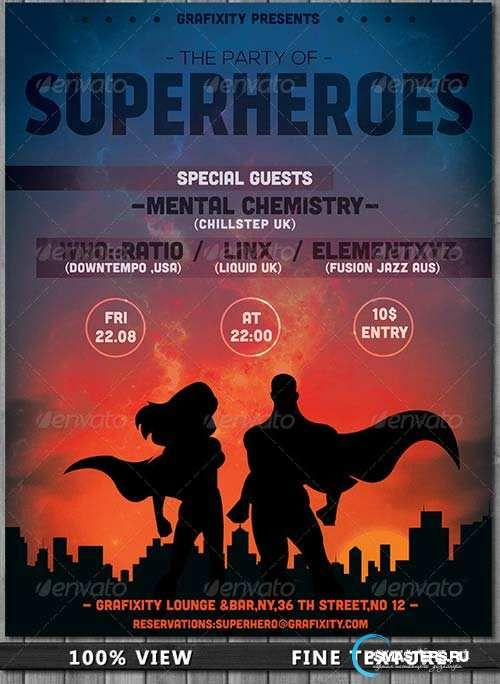graphicriver superhero - themed party flyer  poster