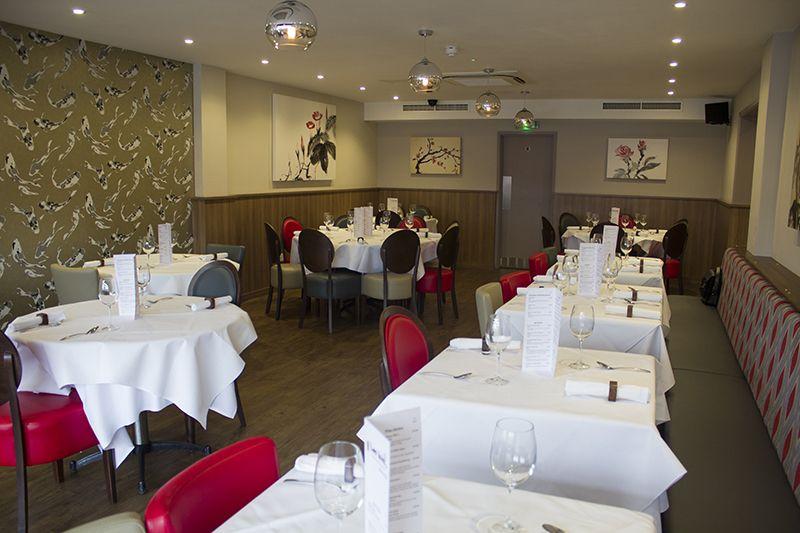 Main restaurant in lon wah restaurant wickford interior design by harp interiors