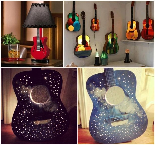 Amazing interior design 5 ideas to recycle old guitars and for Acoustic guitar decoration ideas