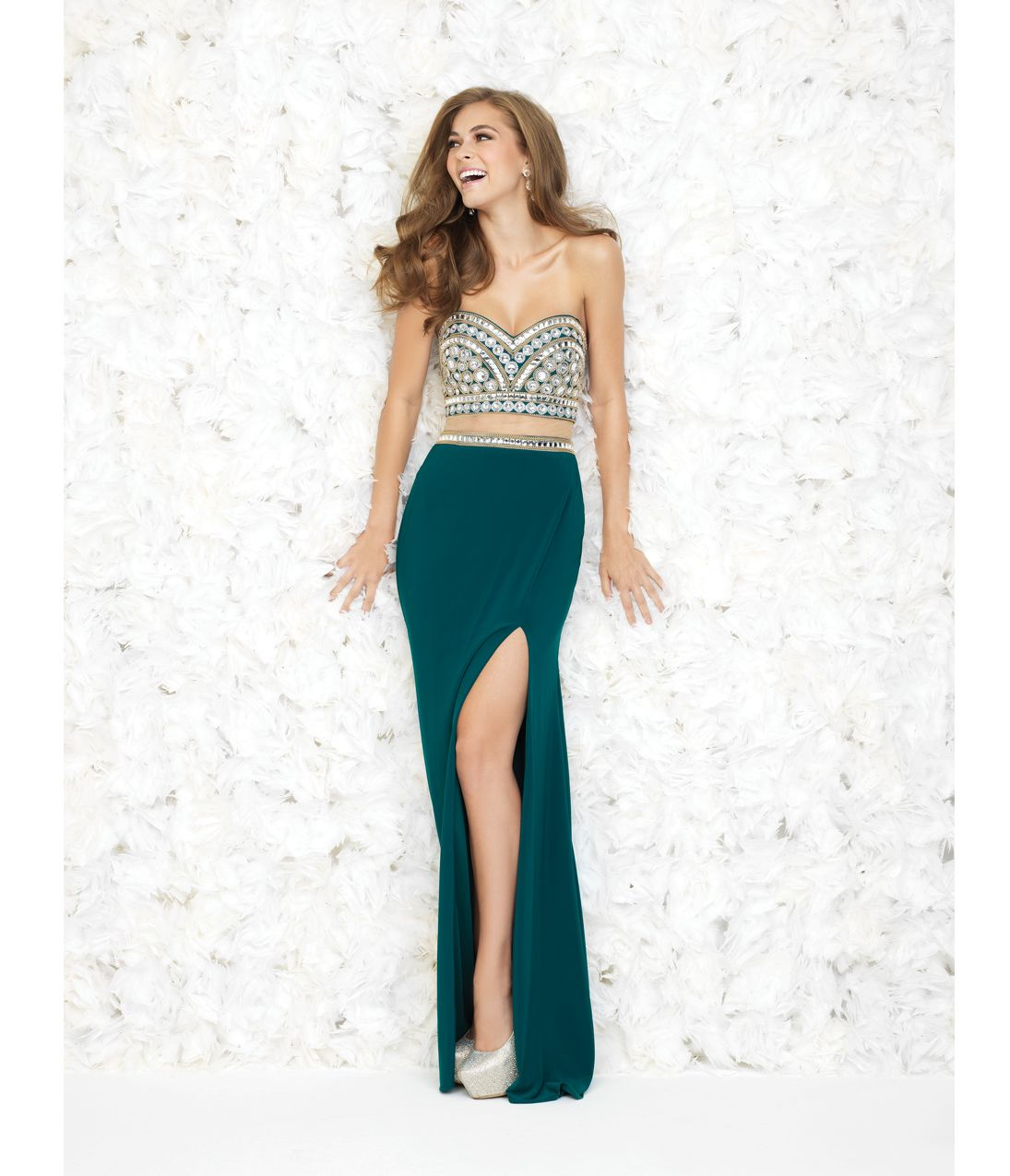 Unique Vintage Madison James Pine Green Beaded Bodice Illusion Two ...