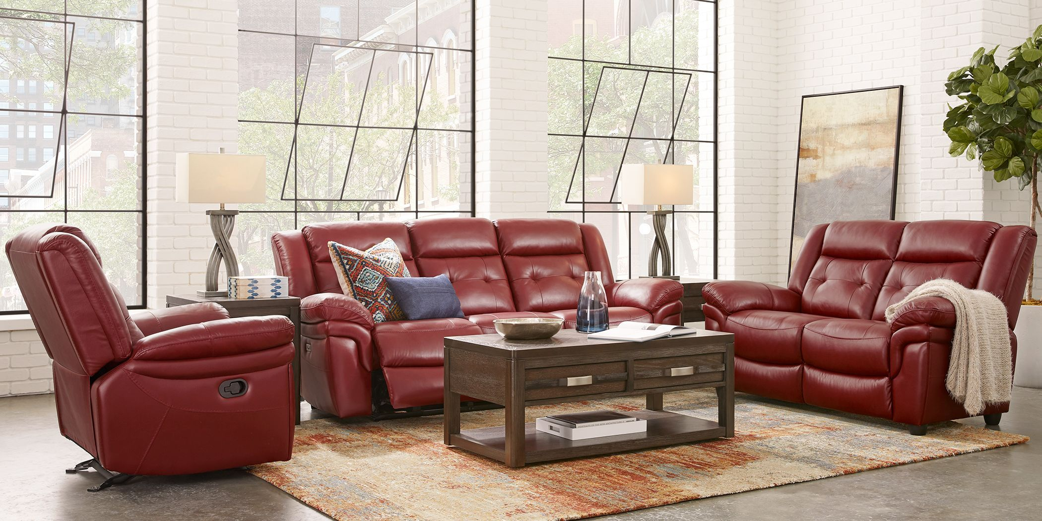 Ventoso Red Leather 3 Pc Living Room With Reclining Sofa Living Room Leather Living Room Sets Furniture Red Leather Couch Living Room 3 pc living room set