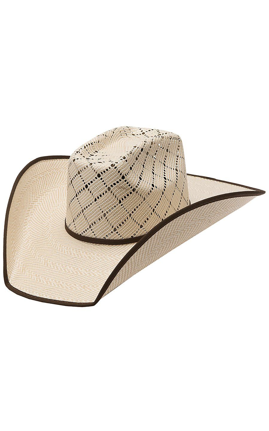 fea17979ea599b Twister 10X Criss Cross Taupe & Natural Vent Bound Edge Straw Cowboy Hat