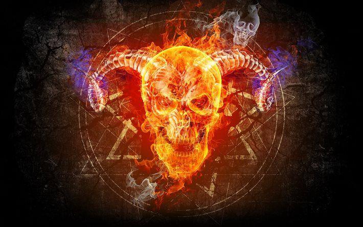 Download Wallpapers Skull Fire Taro Flame Art Besthqwallpapers Com Skull Wallpaper Skull Skull Fire