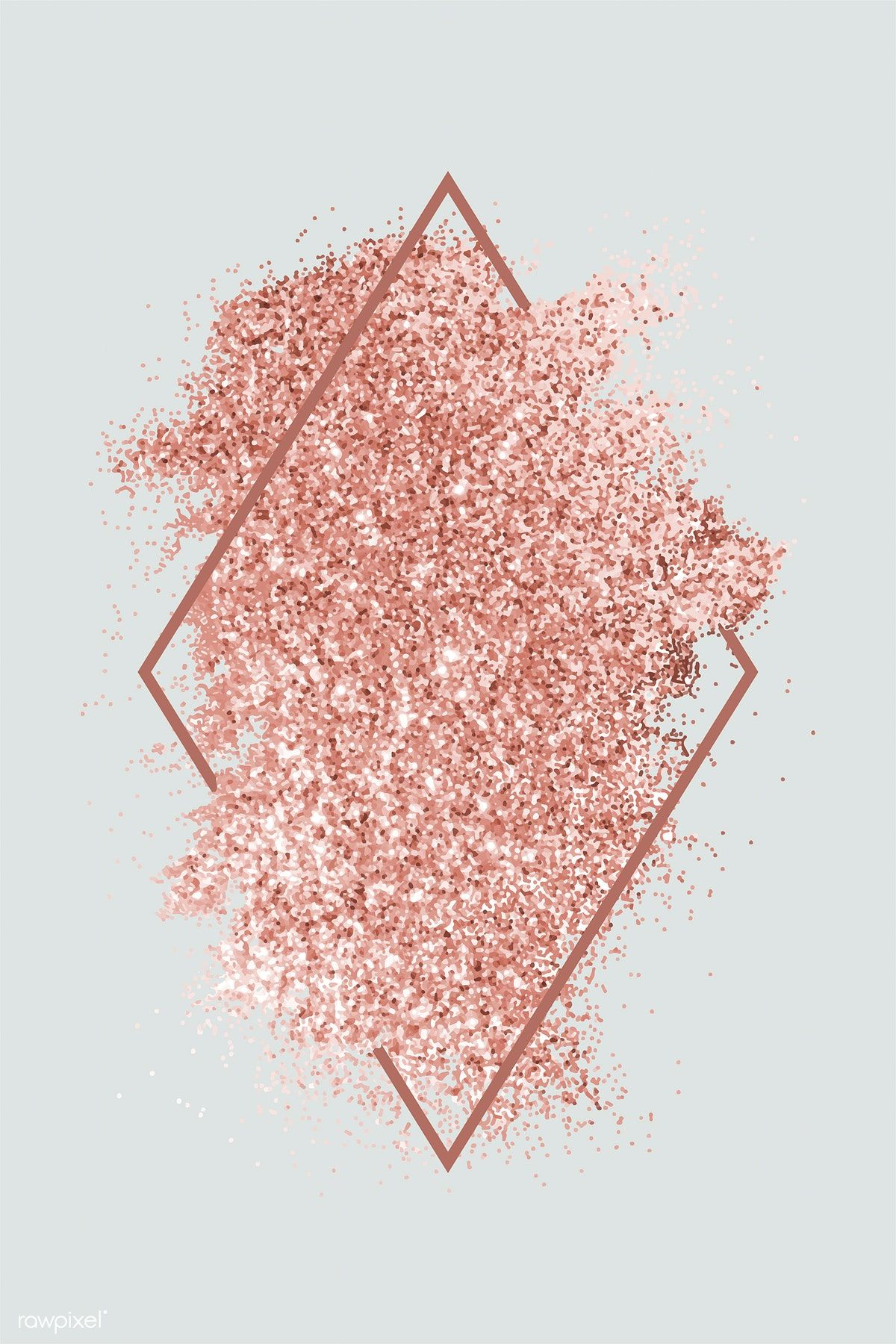Pink gold glitter with a brownish red rhombus frame on a