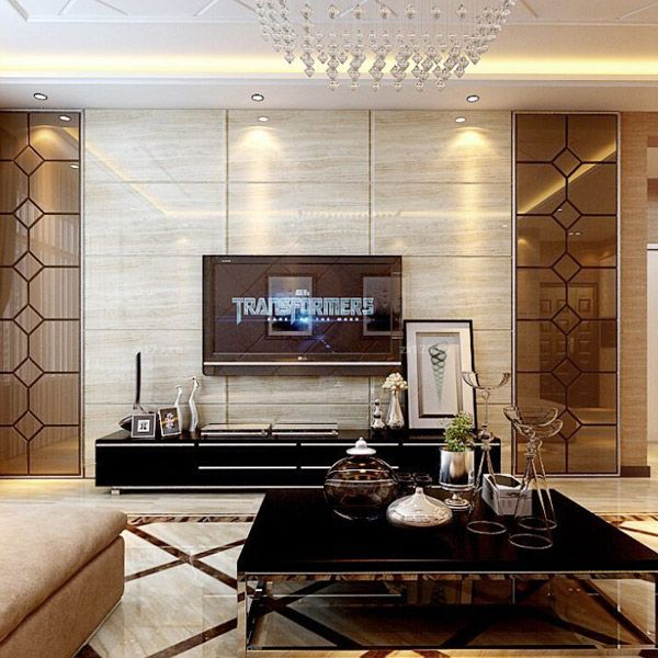 Lacquered Glass Living Room Tv Interior Glass Mirror
