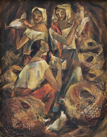 Artwork By Anita Magsaysay Ho Chicken Of The Naglalako Made Of Oil On Canvas Filipino Art Artist Philippine Art