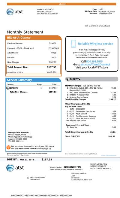 Cable Package, AT&T Cable bill, phone, Bill