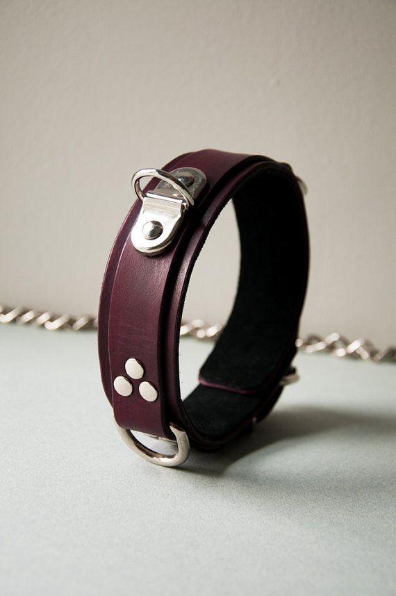 Handmade Oxblood Dark Red Leather Slave Collar Heavy Strict