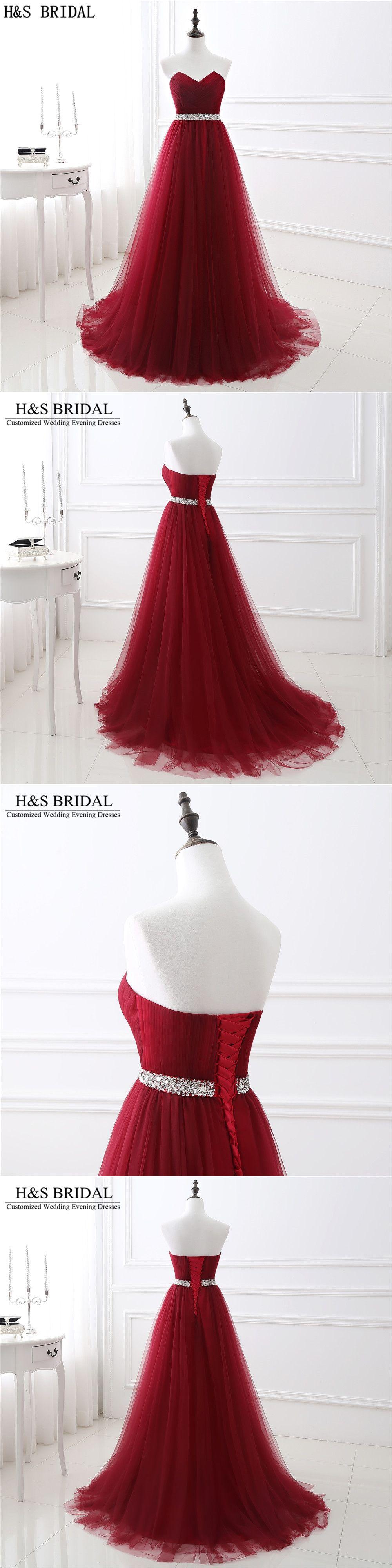 Sweetheart beaded burgundy evening dresses tulle aline prom dress