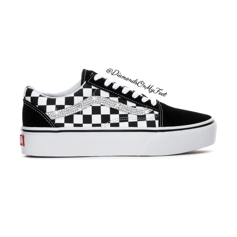 9d670ff49f396 Swarovski Women's Vans Old Skool Black & White Checkered Sneakers ...