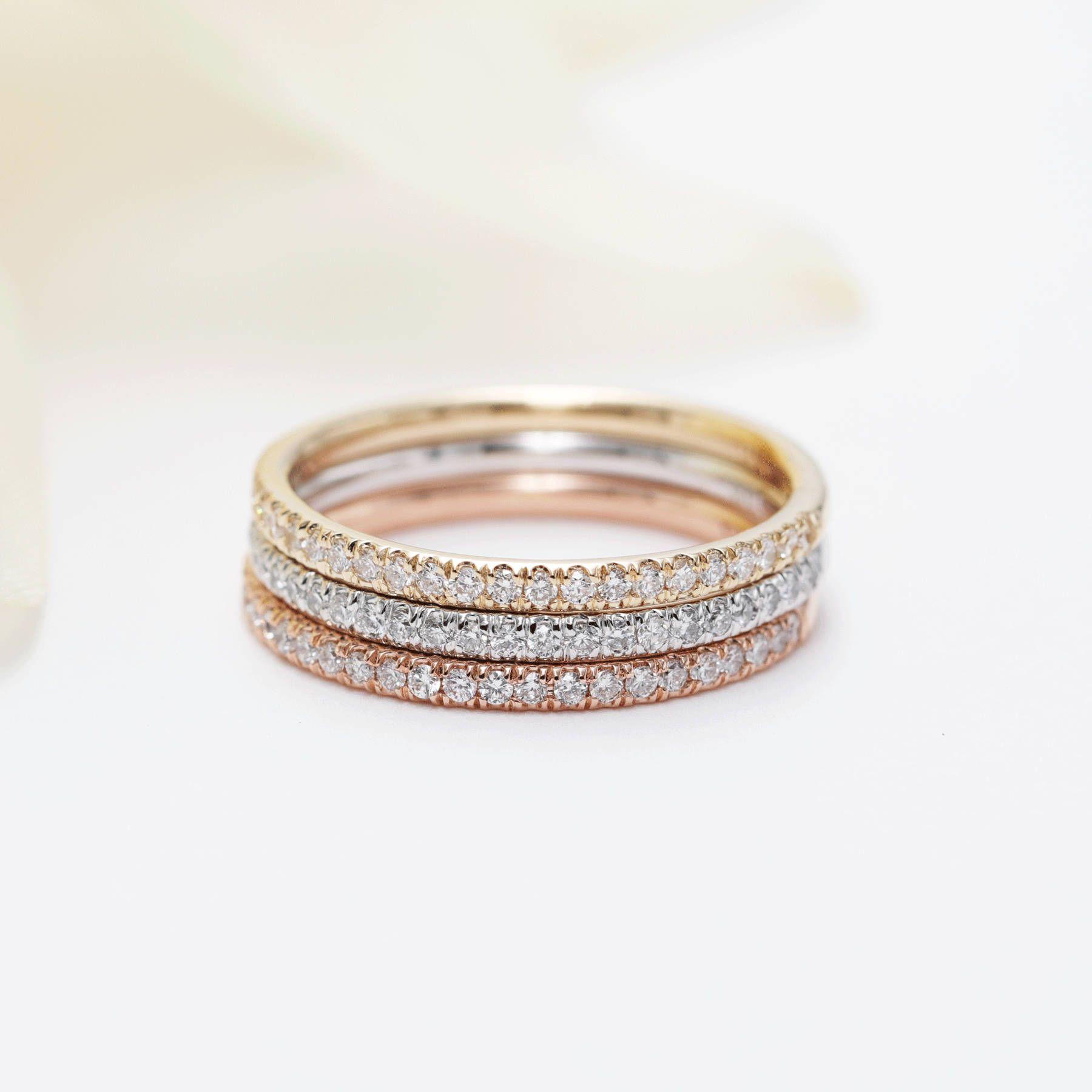 Set Of 3 14k Gold 1 7mm Diamond Halfway Wedding Band 14k Yellow White Rose Gold Ring Rose Gold Matching Rose Gold Ring Set Stacked Diamond Bands Gold Ring Sets
