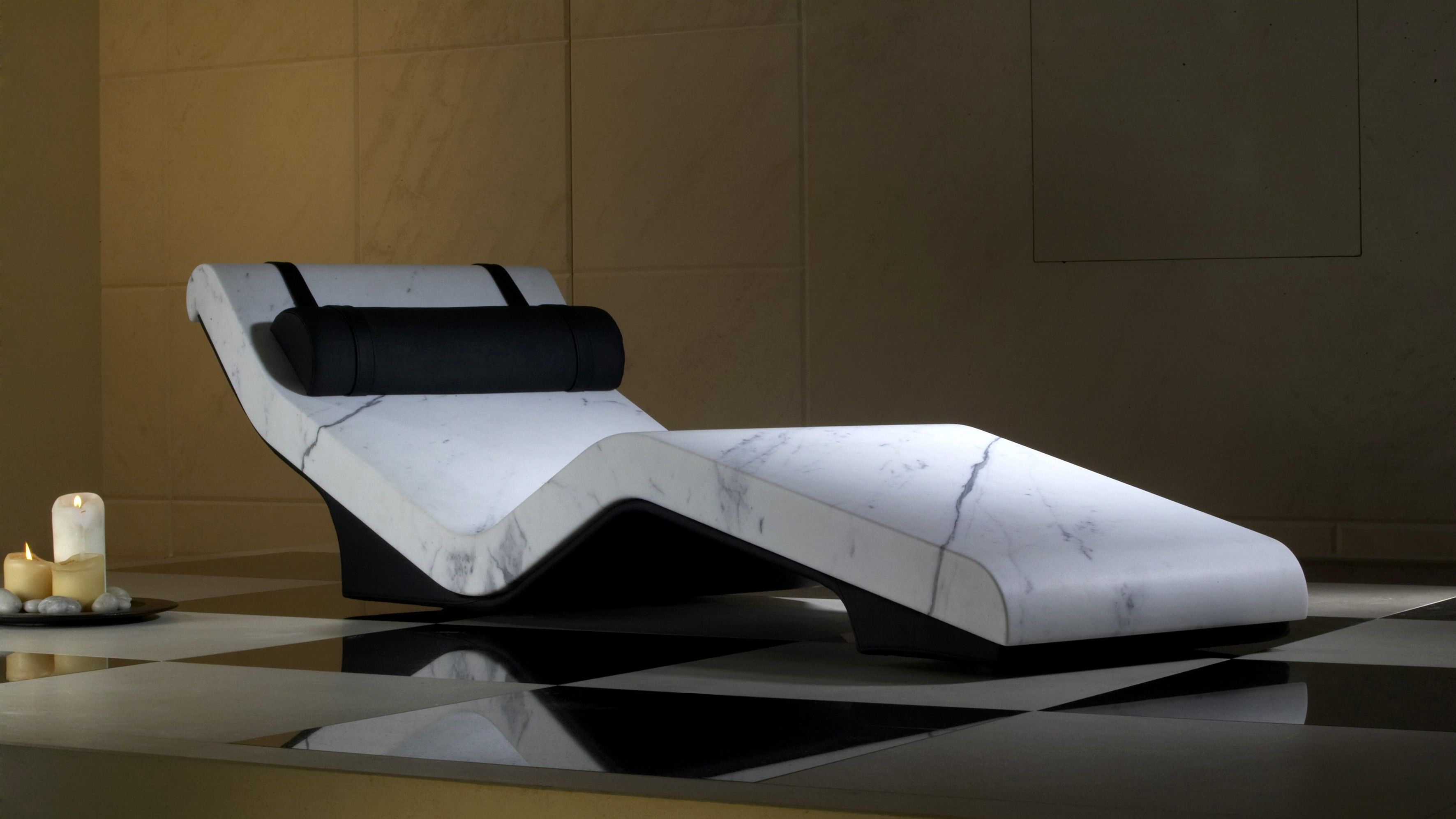 Finest white Marble Heated Loungers for LivingRoomConcept