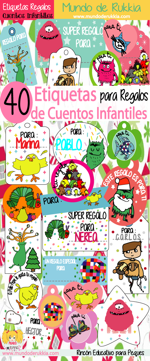 etiquetas regalos, actividades con cuentos, etiquetas imprimibles ...