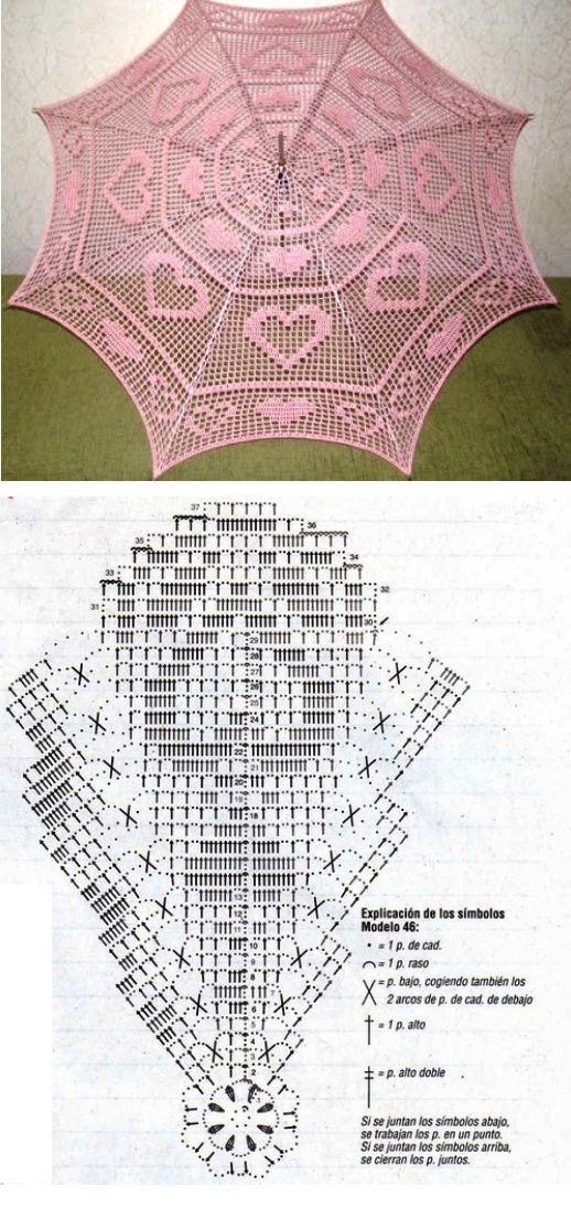 Valentine Filet Crochet Parasol Pattern Chart Doily Pinterest