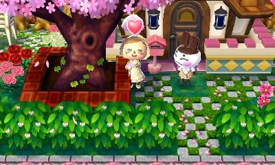 Outdoor Hacked Town Tree In Front Of House W Bushes For A Fence Animal Crossing Pink Apple Acnl