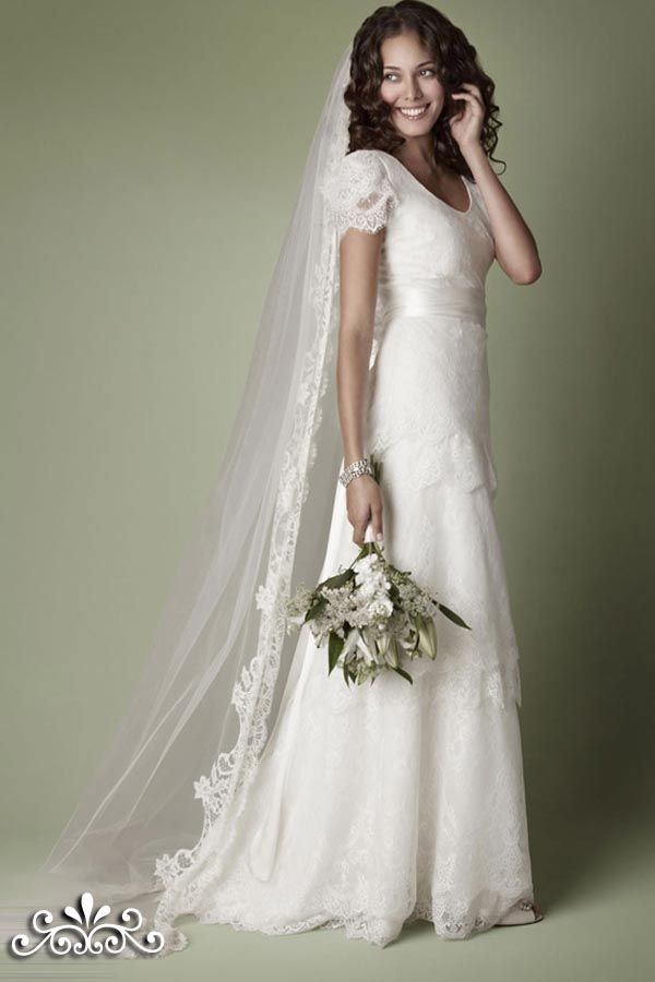 Dresses, Edwardian Gown Tiered Lace Short Sleeves Wedding Dresses: The Vintage Wedding Dress Company Gown Collection 2013