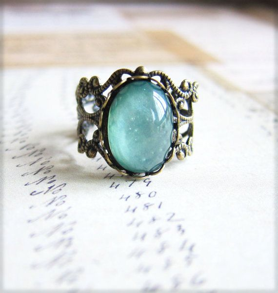 Mint Floral Ring Mint Rose Ring Mint Green Rose Ring Antique Filigree Ring - L'Amour - Antique Brass Filigree. $7.00, via Etsy.