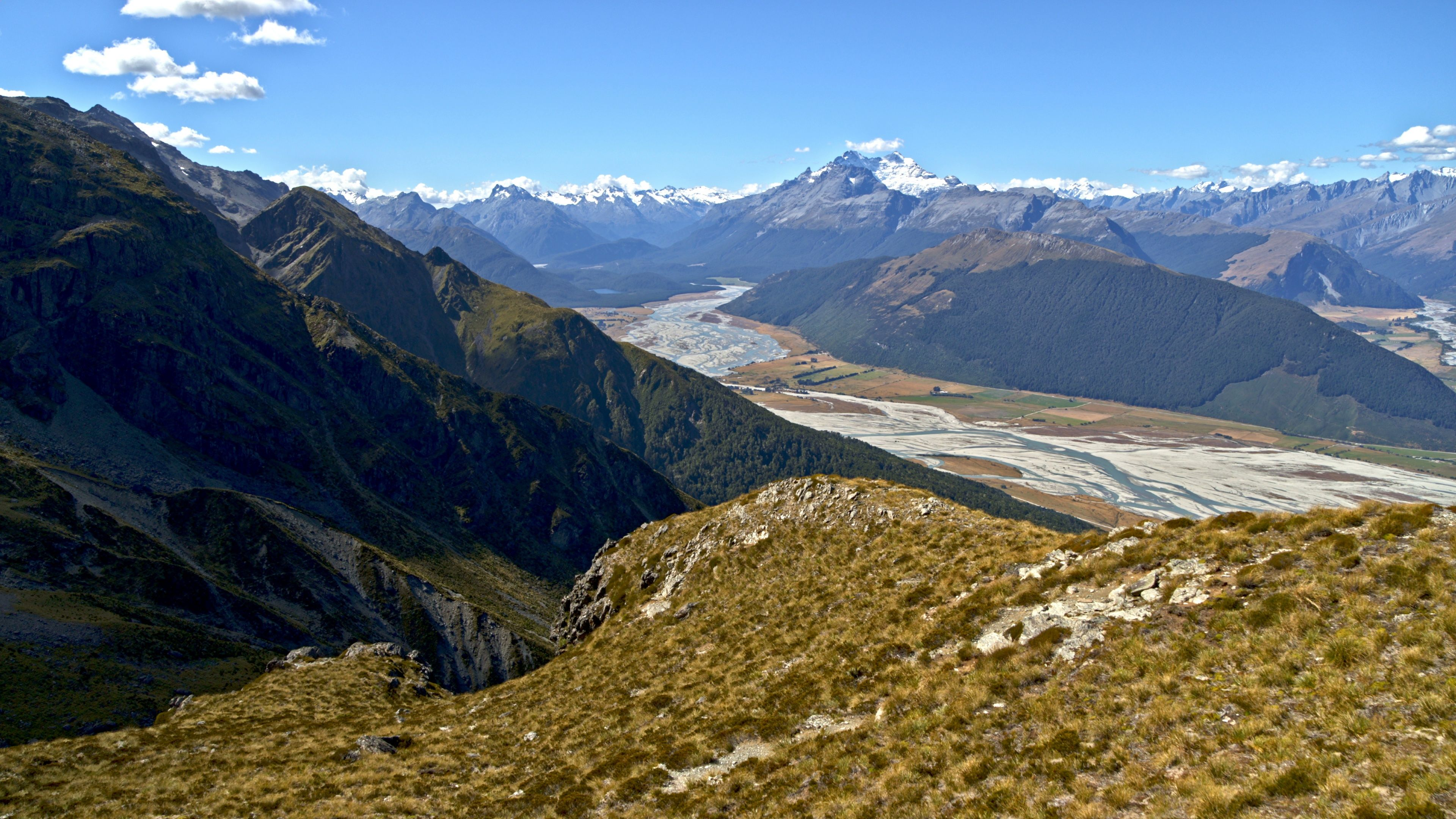 Aerial people achieving their target trekking New Zealand Stock Footage ,#achieving#target#Aerial#people