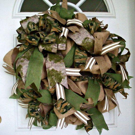 Camo Burlap Wreath Camouflage Wreaths Rustic Decor Country Home Decor