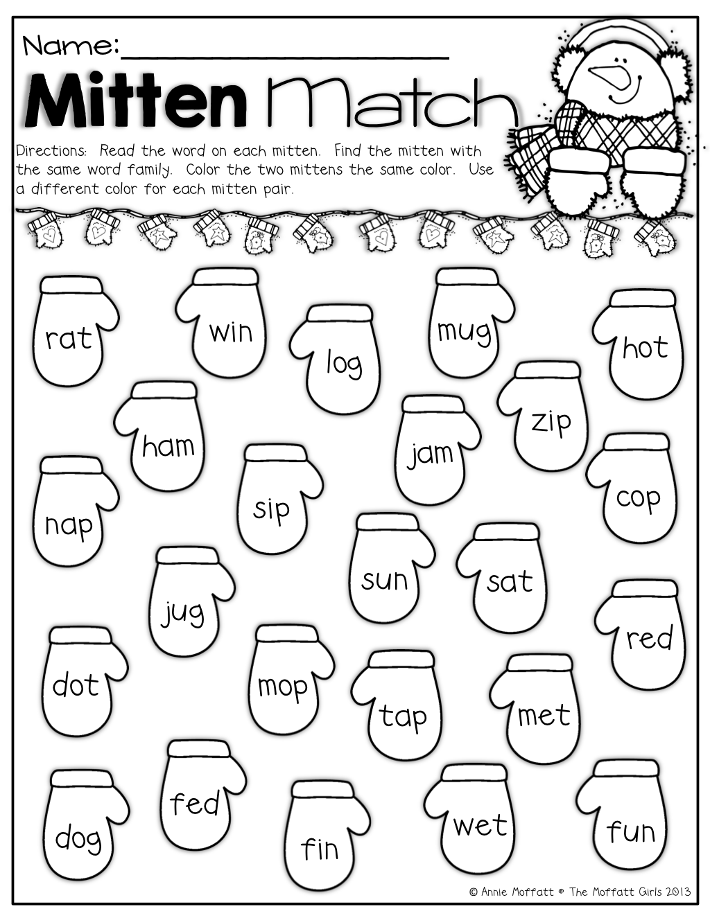Mitten Match Find And Color The Mittens With The Same Word Family