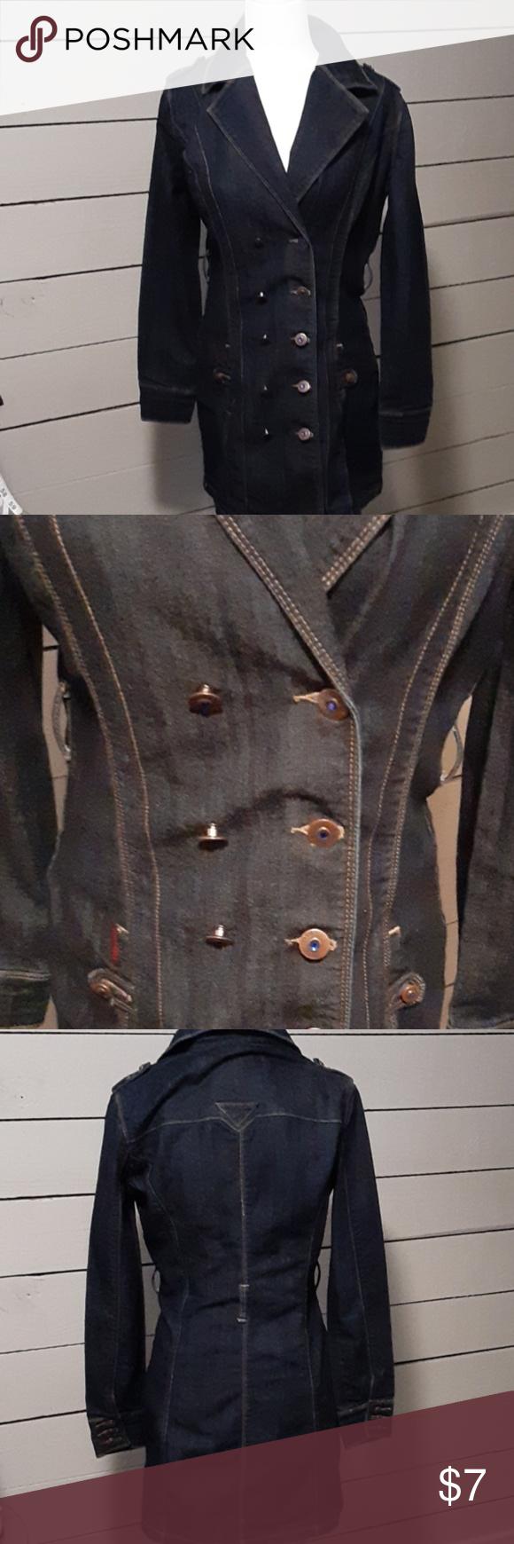 Jou Jou denim dress 0380c Fitted denim dress Double breasted cut Belt not available  Shoulder to hem 34 inches Jou Jou Dresses Midi