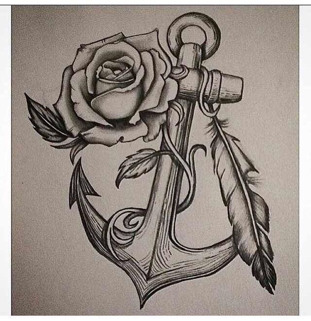 59c2475a7 Anchor Rose tattoo design I drew | Tattoo | Anchor tattoo design ...
