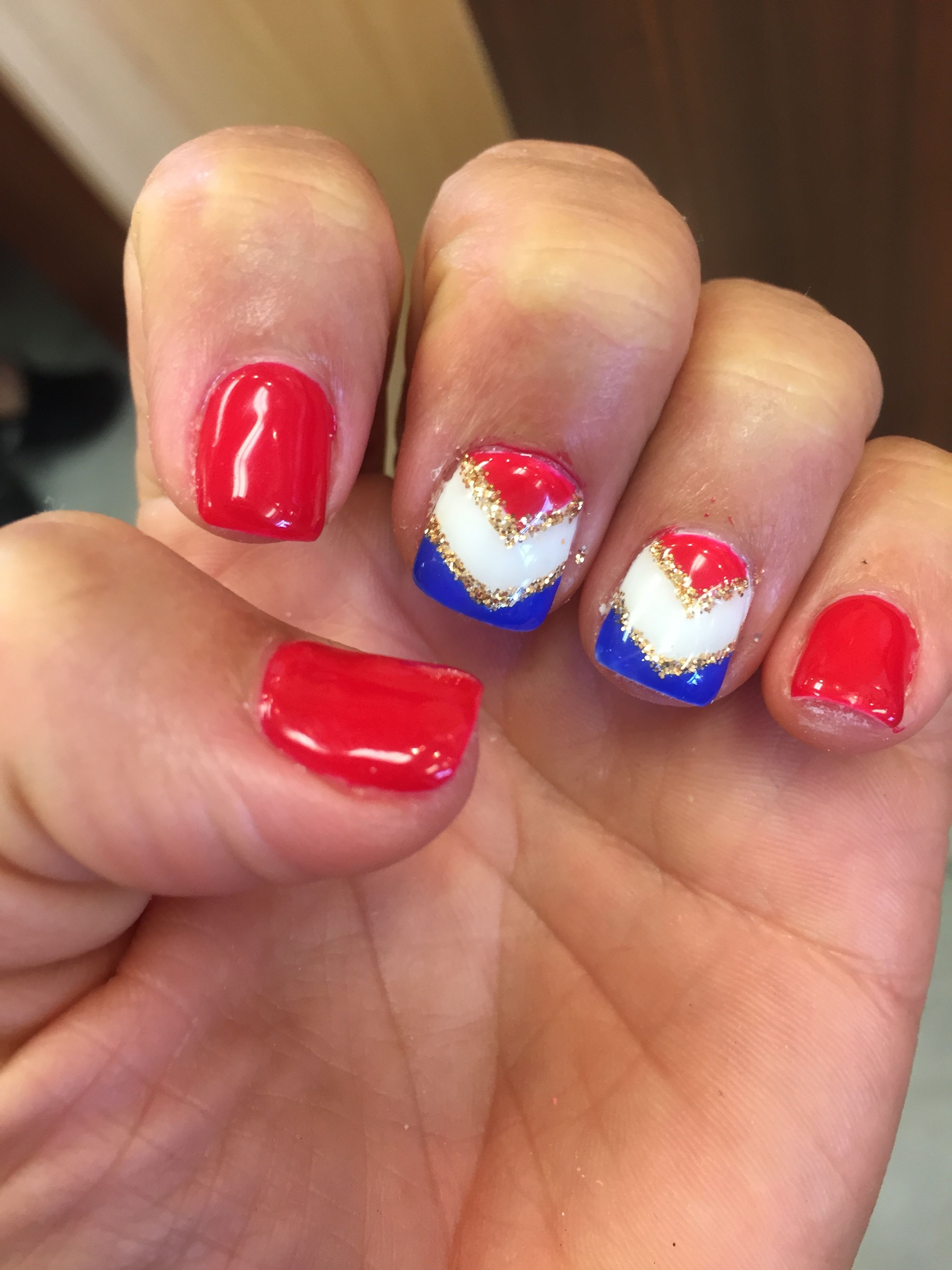 Memorial Day July 4th America Nail Design Shellac Gel Polish Red