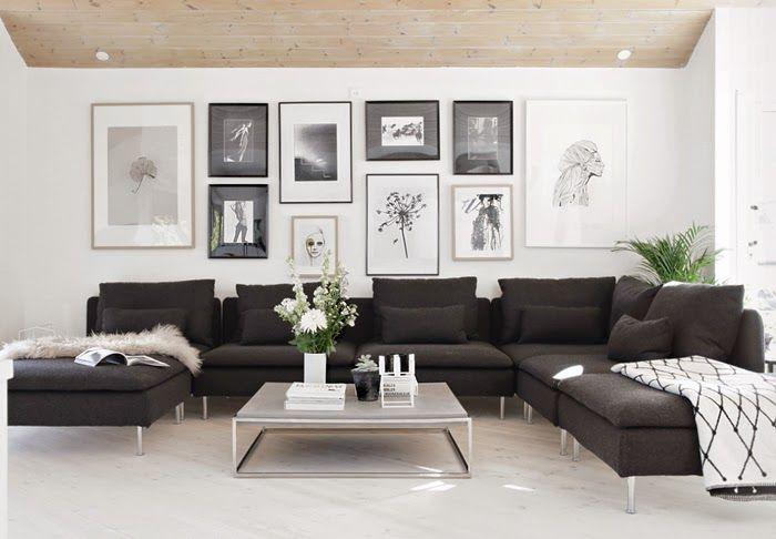 Inspiración Deco: Un salón nórdico en blanco, negro y madera | Salón ...